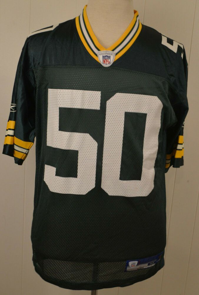 99d202e32 Reebok Green Bay Packers Jersey  50 A.J Hawk NFL Replica Adult Medium Green   Reebok  GreenBayPackers