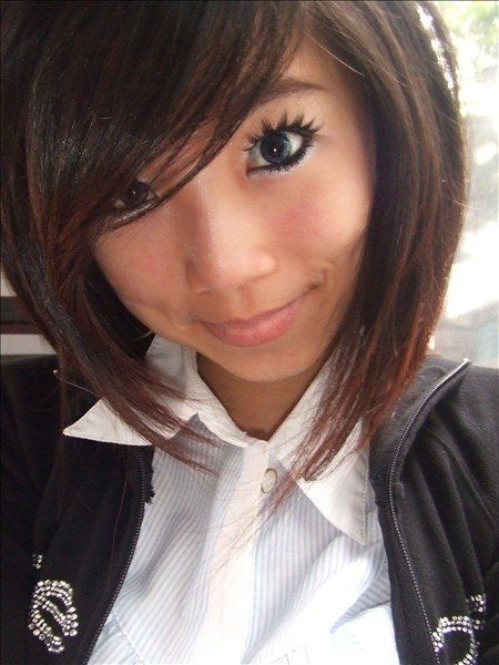 Hair Inverted Bob Side Bangs Dark Short Slightly Creepy Eyelashes