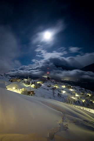Moonlight over Guttet, Switzerland. #travel #guttet #switzerland #moonlight #mountains #snow