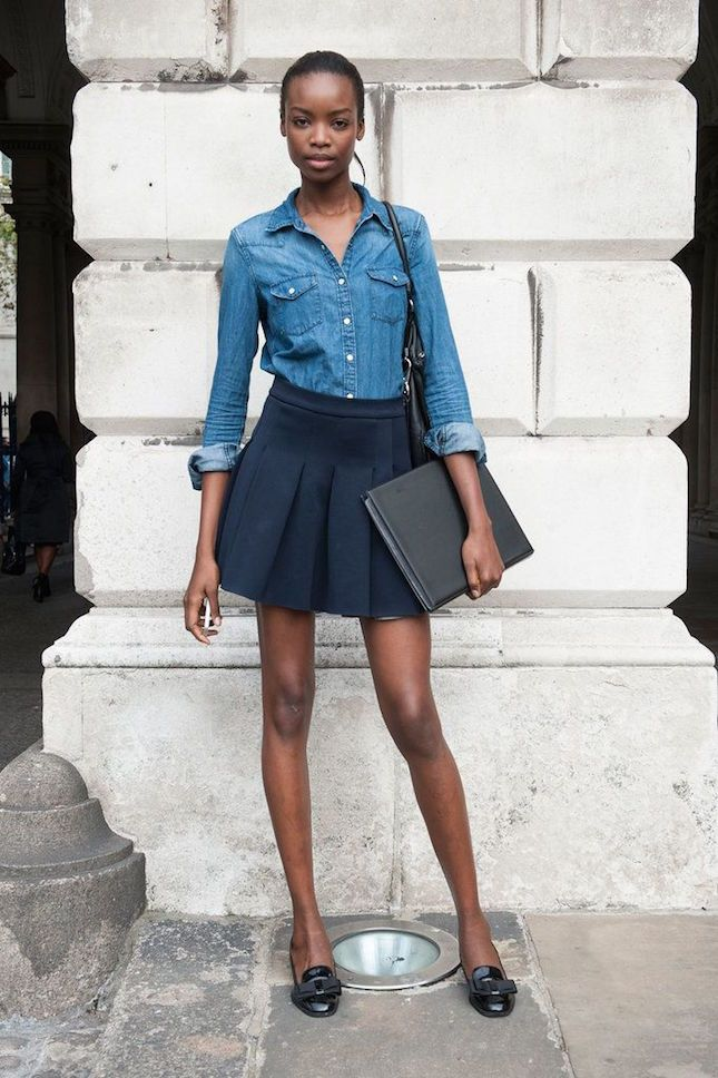 sexy street style look: button-front chambray shirt + pleated mini skirt