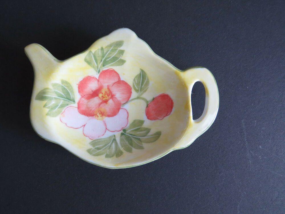 Tea Bag Holder Teapot Shaped Spoon Rest Ceramic Yellow Peach Pink