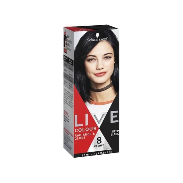 Schwarzkopf LIVE Hair Colour Deep Black Gallery
