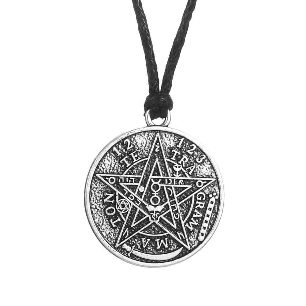 Supernatural Inspired Pentagram Pentacle Necklace With Charm Chain Jewelry Antique Jewelry Fashion Wear Locket Wiccan Pendant Silver CP3ODJ