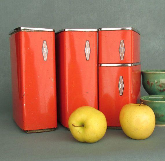 Vintage Kitchen Decor Orange Canister Set 4