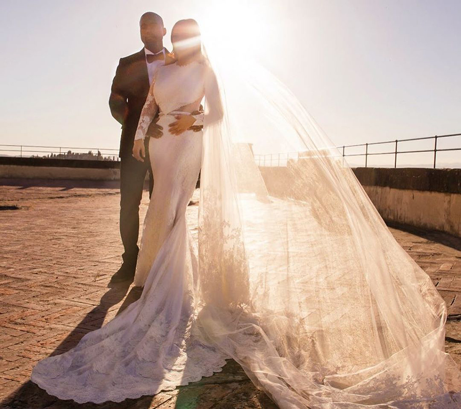 Kim Kardashian West And Kanye West S Dreamy Italian Wedding Kim Kardashian Wedding Dress Kim Kardashian Wedding Kardashian Wedding