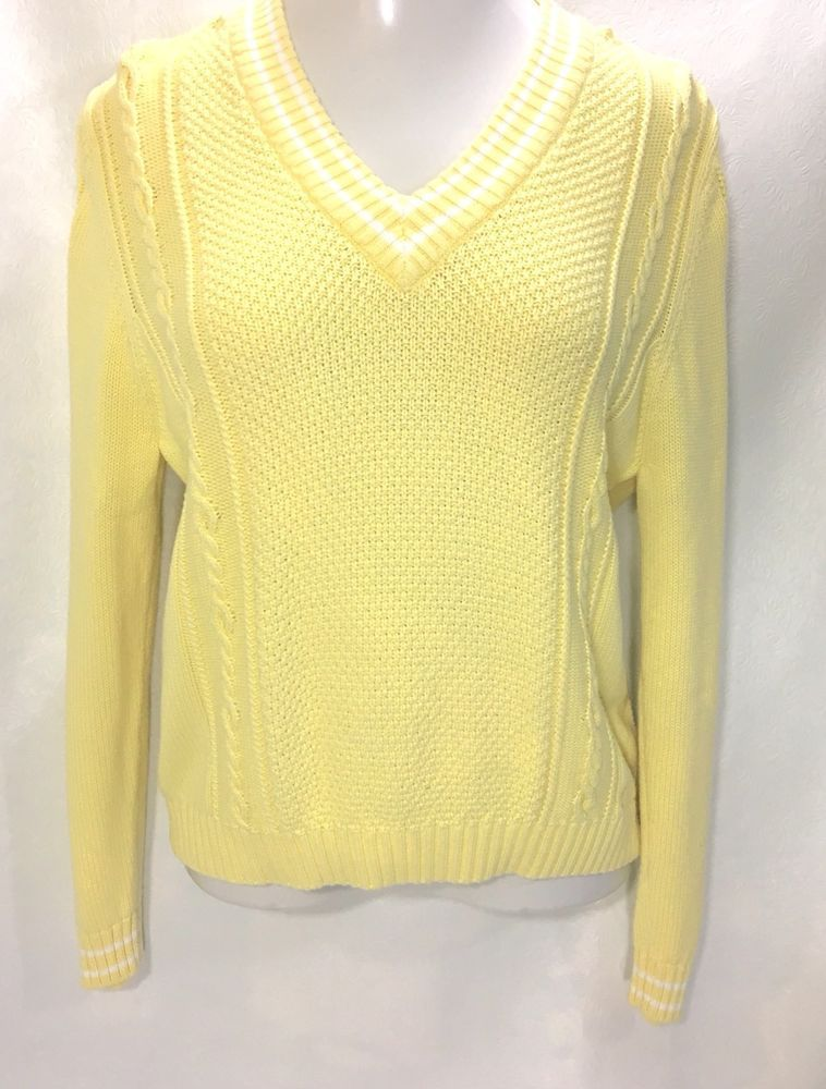 bf41236b8e IZOD Womens Sweater Size L   Yellow LS 100% Cotton V-Neck Knit Top  IZOD   PulloverSweater  Casual