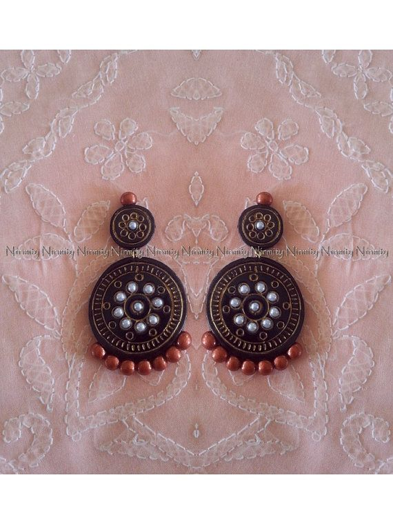 Black and copper terracotta jewelry-two tone temple by NIRMITY ...