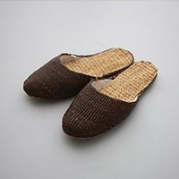 ombrenature [straw tow-tone slipper]