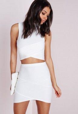 7b26ec197179 Bandage Asymmetric Hem Mini Skirt White | Freakum Dress | Mini ...