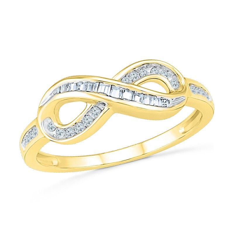 9ct Yellow Gold Diamond Infinity Ring ENGAGEMENT