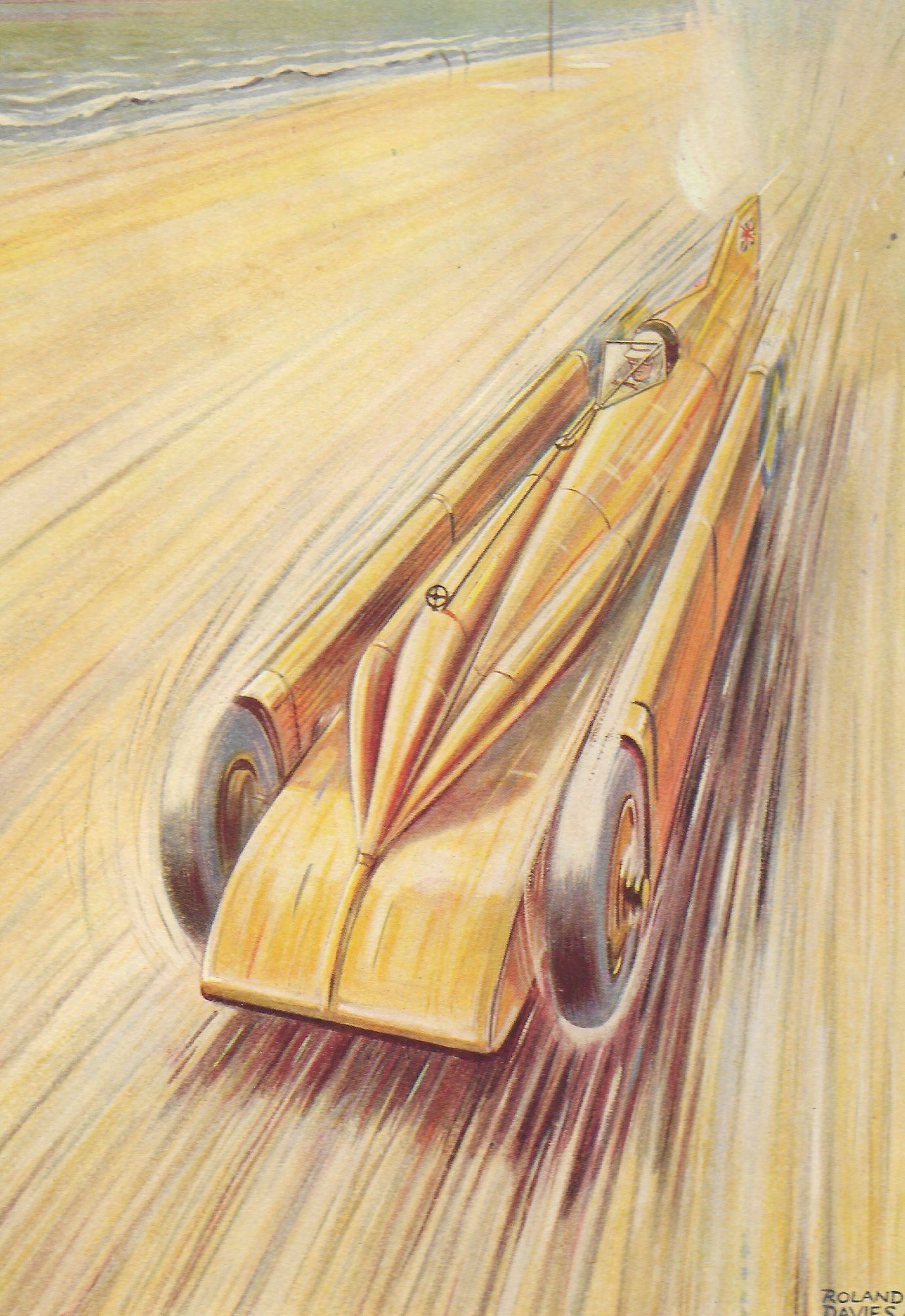 Golden Arrow Henry Segrave Art Deco Style Land Speed Record Car Art Print
