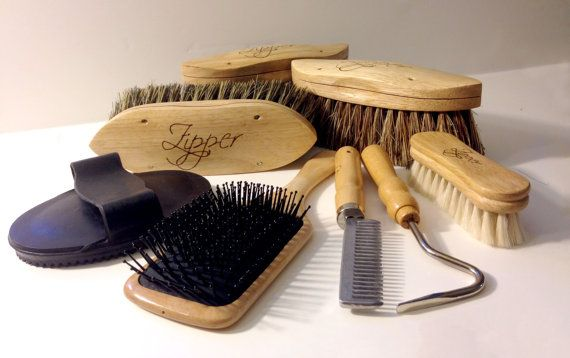 8pc Woodburned Horse Grooming Set by createdbyleslie on Etsy, $115.00