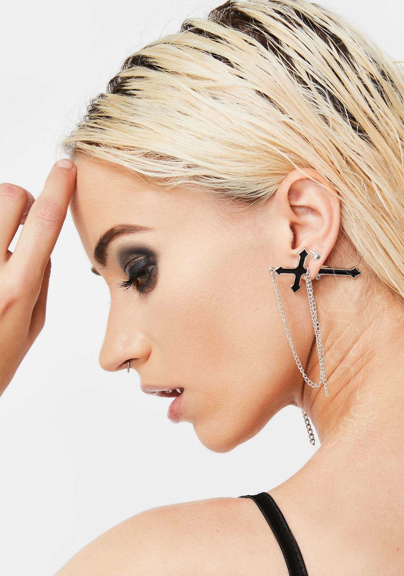 Get Cross With Me Chain Earring Chain earrings, Goth