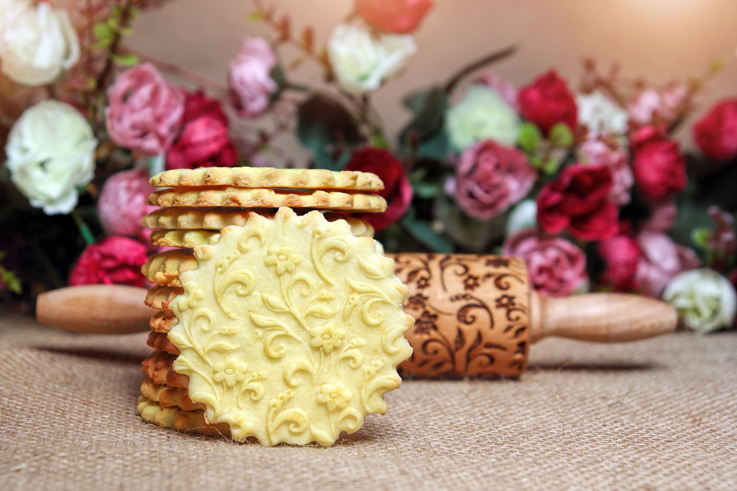 flower engraved rolling pin unique gift for aunt birthday gift for