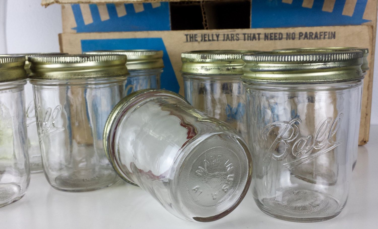 Vintage Set Of 9 Ball Glass Can Or Freeze Jars Half Pint Ball Glass Jelly Jar Glass Kitchen Storage Farmhouse Kitchen Dec Kitchen Decor French Kitchen Decor Italian Kitchen Decor