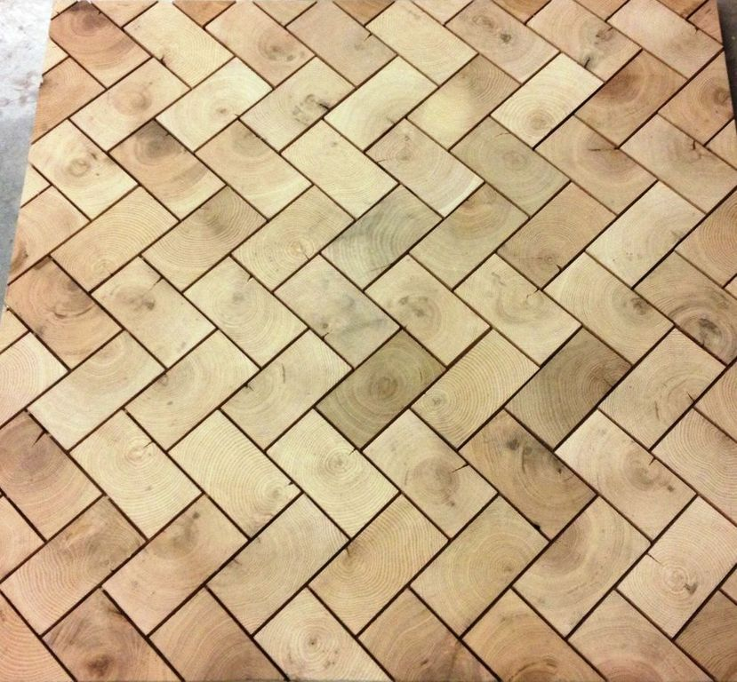 Herringbone End Grain Oak Blocks Unfinished Before Grout End