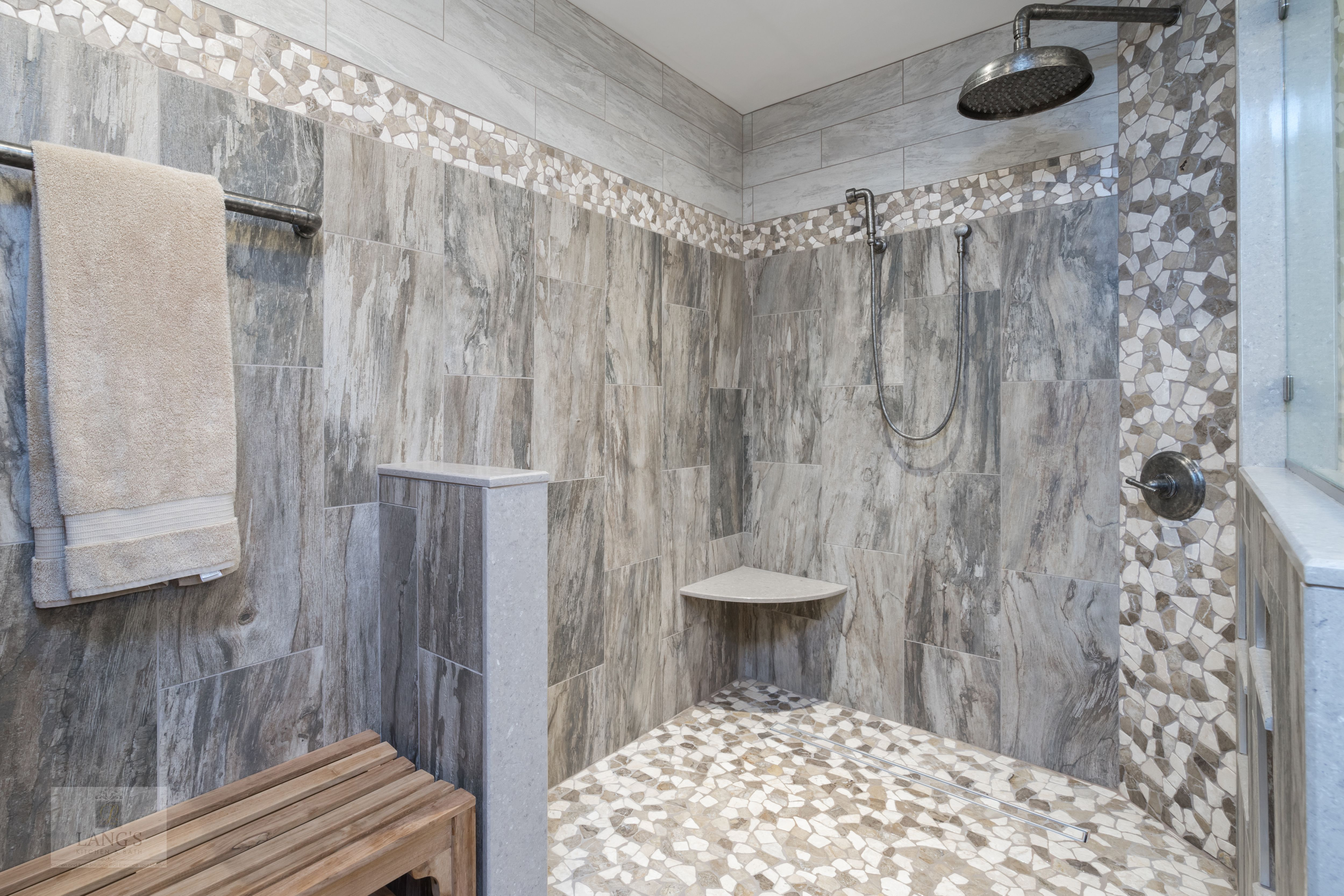 This Bathroom Design Combines Rustic And Industrial Features In A Space That Is Stylish And Relaxing Kitchen And Bath Design Shower Floor Remodeling Companies