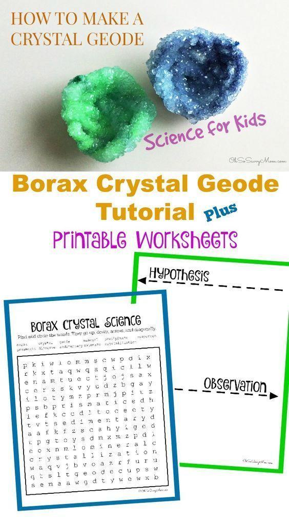 Borax Crystal Geode Tutorial Plus Free Printable Worksheets   Kids ...
