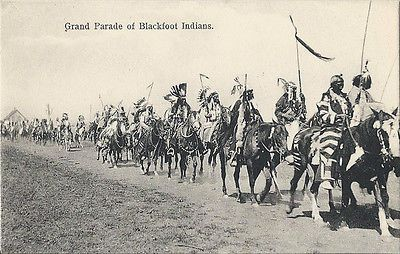 Postcard-Blackfoot-Indians-Grand-Parade-Blackfeet-Montana-1907-Prt-Germany-NrMnt