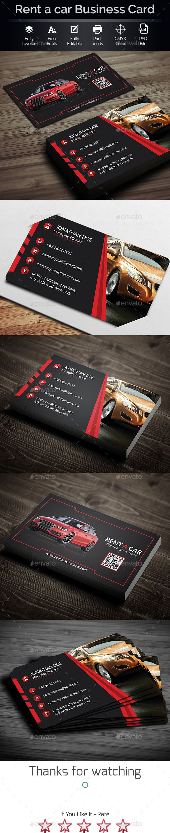Rent A Car Business Card | Business cards, Renting and Business