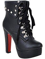 Mee Shoes Damen Schnürsenkel Plateau Nieten #highheelsKnöchelstiefel
