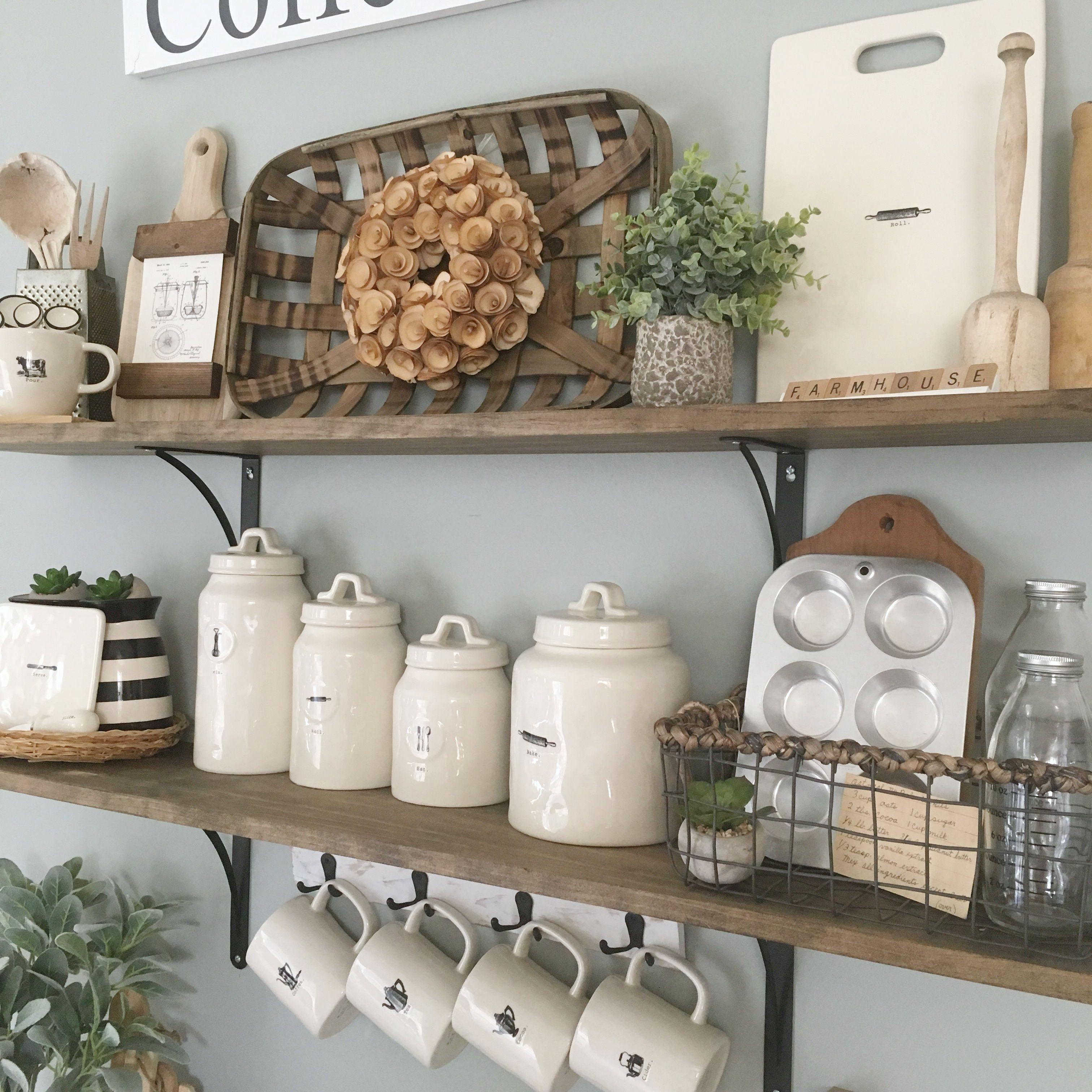 Rae Dunn Display Open Shelves Kitchen Decor Farmhouse Decor