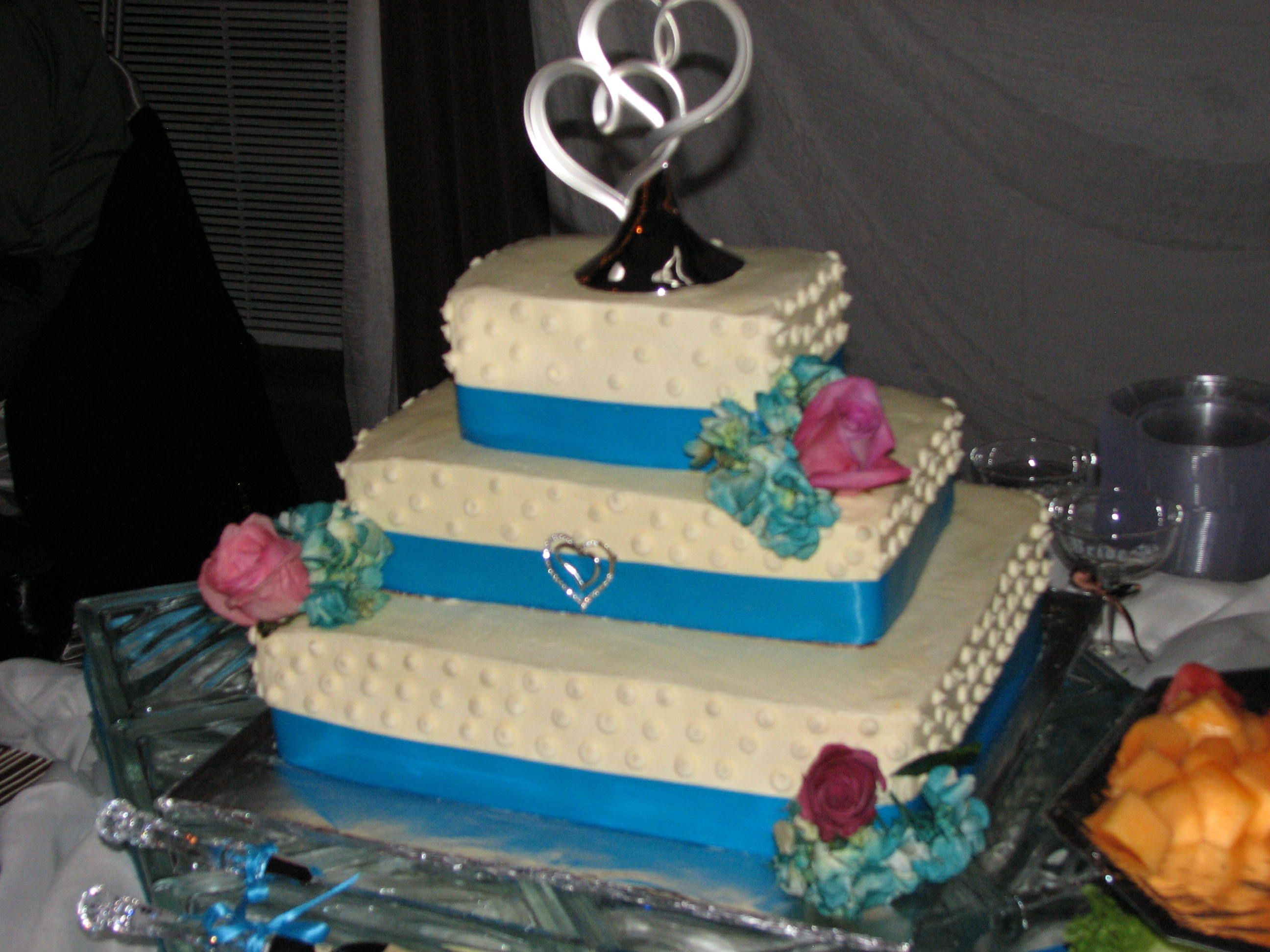 Flowers were added to a wedding cake for a little extra