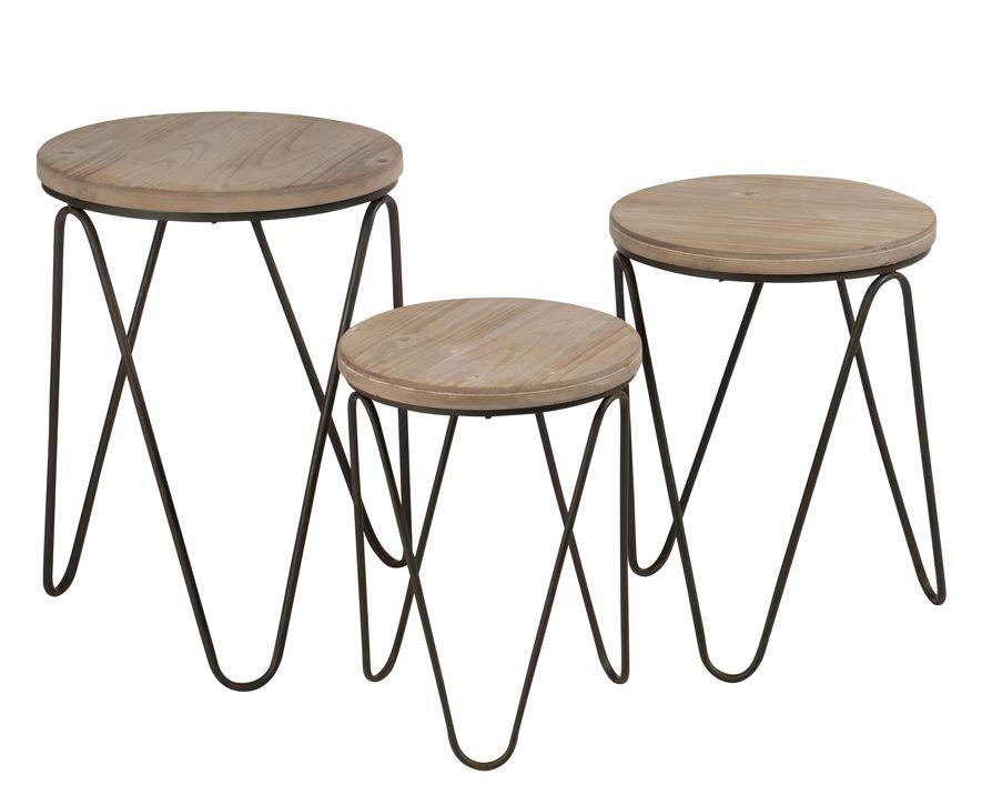 0a870b6e954f30 Lot de 3 tables gigogne style scandinave métal et bois en 2018 - Meuble 45  Cm