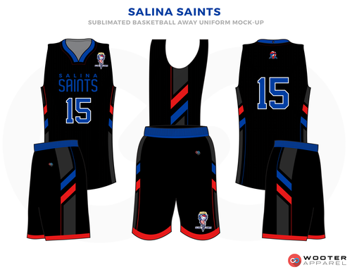 SALINA SAINTS Black Red and White Basketball Uniforms d8c55d710
