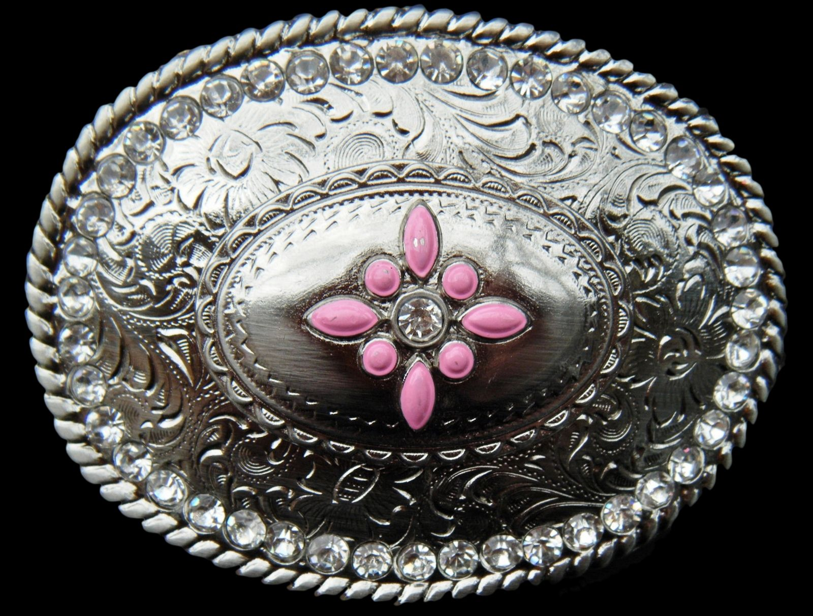 VINTAGE HIPPIE HIPPY RHINESTONE FLOWER CITY BELT BUCKLE