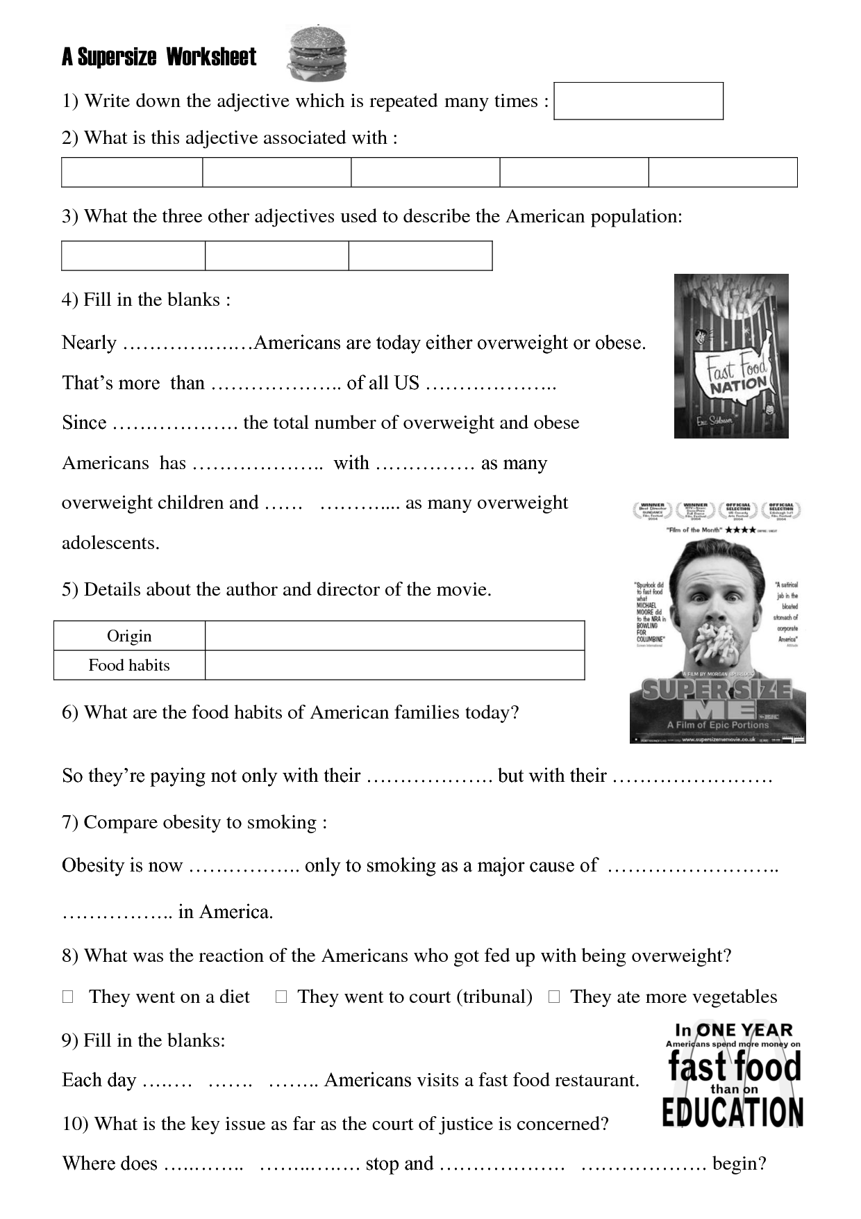 Movie worksheet: Super Size Me. | ESL | Pinterest | Worksheets ...