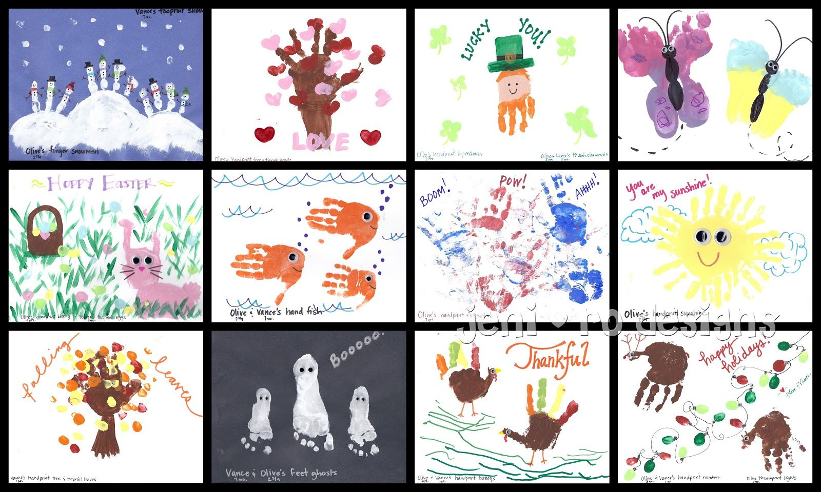 Kids Homemade Calendar : Jeni ro designs kids handprint calendar gift ideas