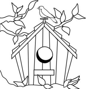 clip art black and white | Birdhouse Clipart Image - Birdhouse in ...