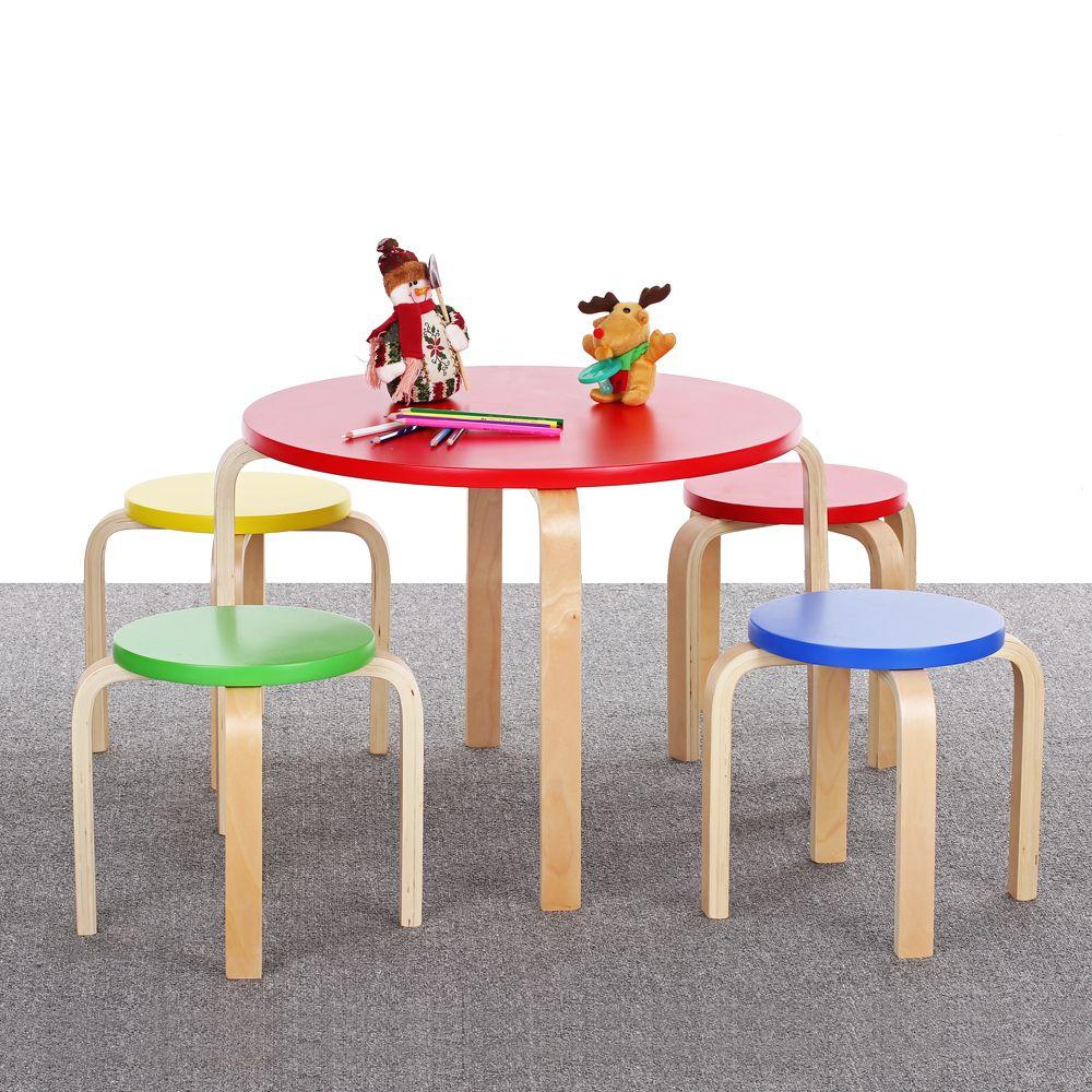 Ikayaa Massivholz Runden Kinder Tisch Und 4 Stuhle Set Mobel 50 Kg