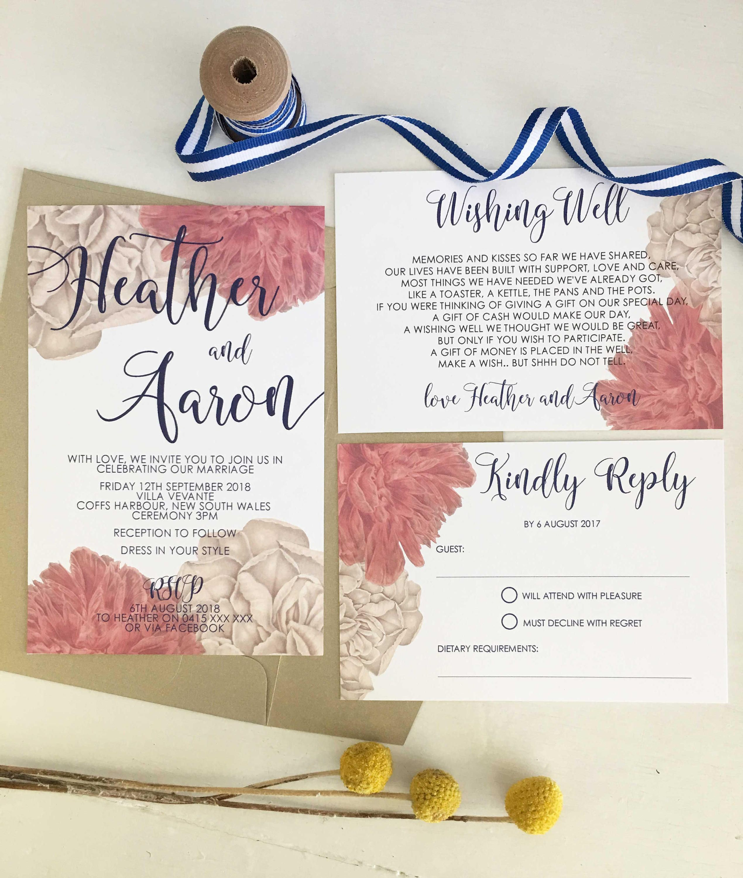 Floral and navy wedding invitation by CocoPressDesigns