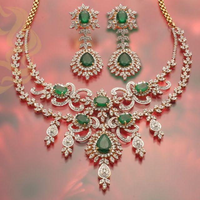 Gold And Diamond Jewellery Designs Indian Diamond Choker: Emerald And Diamond Necklace