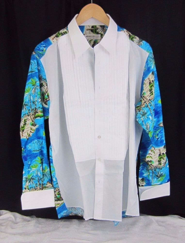 d15001230f White Mens Tuxedo Shirt Size M ? W/ Blue Hawaiian Print Sleeves Back Custom  Made #MercuryCustomTailor