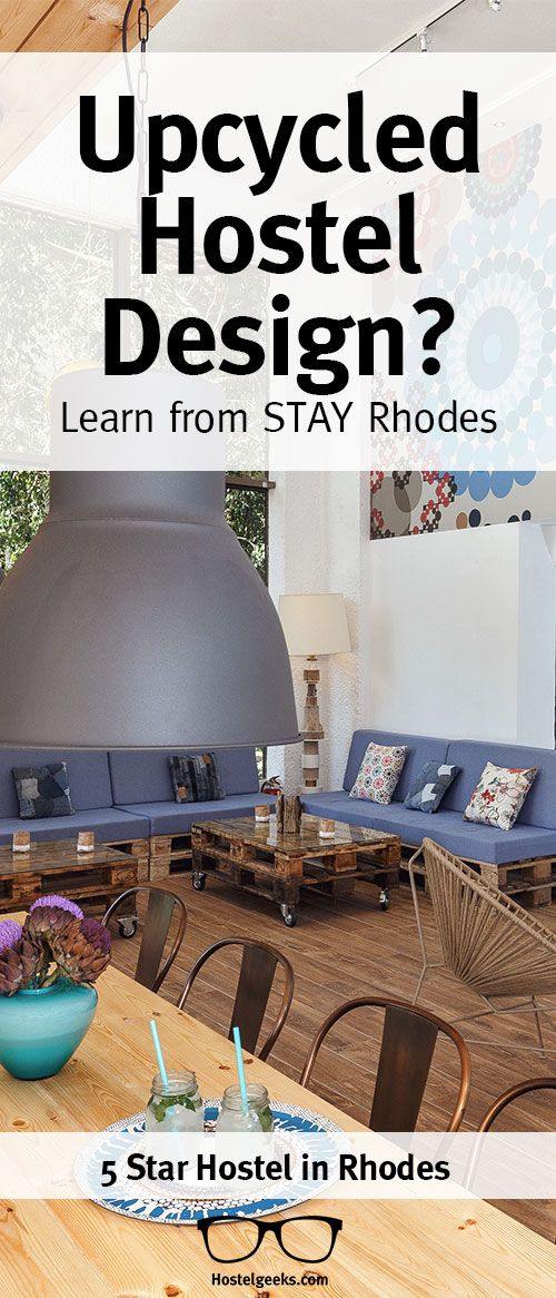 Learn from the masters of Upcycled design. Stay Hostel Rhodes used numerous pallets and upcycled materials to build up a cinema, bar, and finally, the 5 Star Hostel itself!  Get inspired  http://hostelgeeks.com/stay-hostel-rhodes-5-star-hostel/