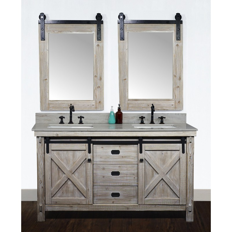 60 Inch Rustic Solid Fir Barn Door Style Double Sinks Vanity With Top Options Driftwood Finish In 2020 Bathroom Styling Bathroom Top Double Sink