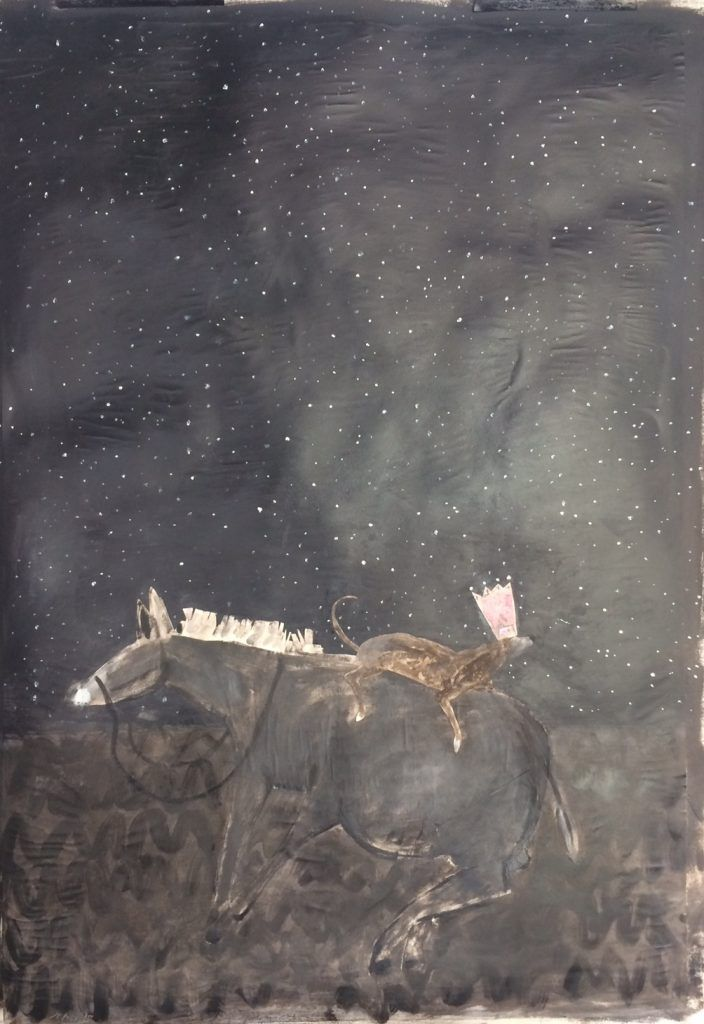 """""""Procession / Field and Stars"""" Oil, Paper, Crayon, and Graphite on Paper 36x26 inches  Gigi Mills 