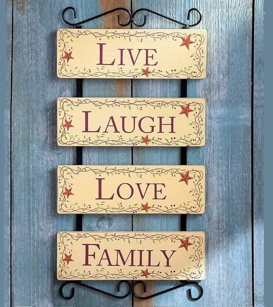 Country Primitive Scroll Metal Wood Panel Wall Art Live Laugh Love ...