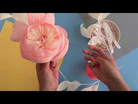 How to make crepe paper peony youtube bong pinterest paper basic principles for making paper flower garland mightylinksfo