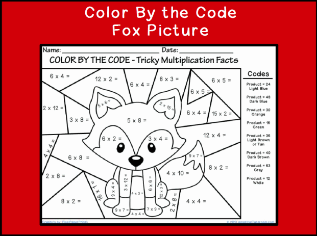 Color by the Code Multiplying Fox classroom printable – Multiplication Coloring Worksheets