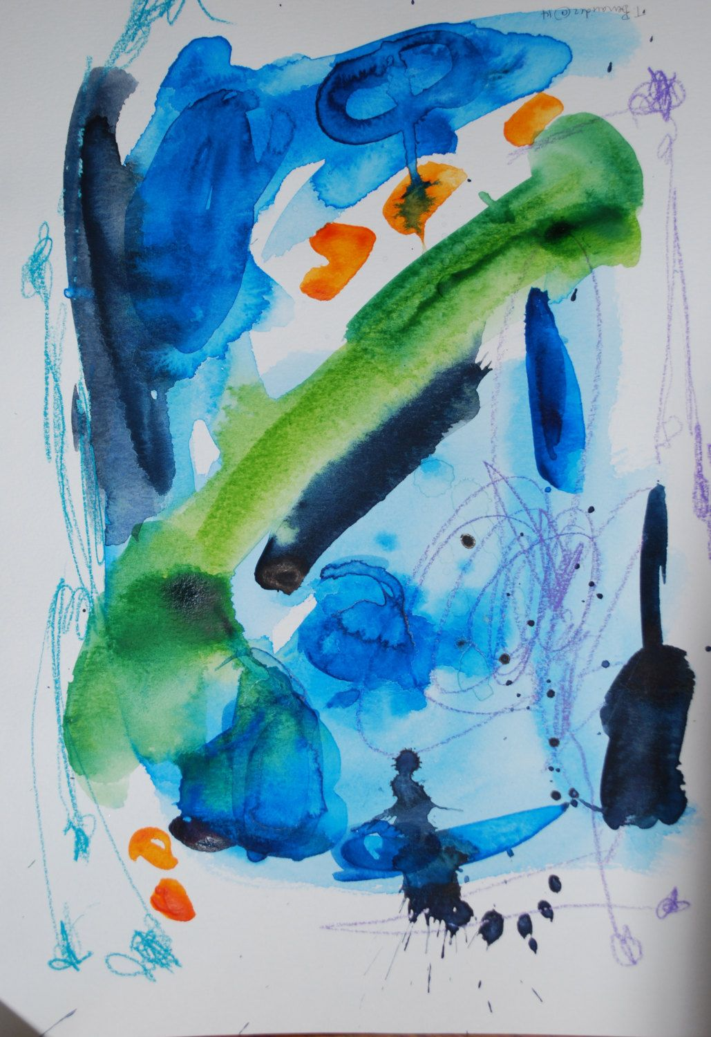 Spring Inspired Abstract Watercolor by by TheresaBenavidezArt, $45.00