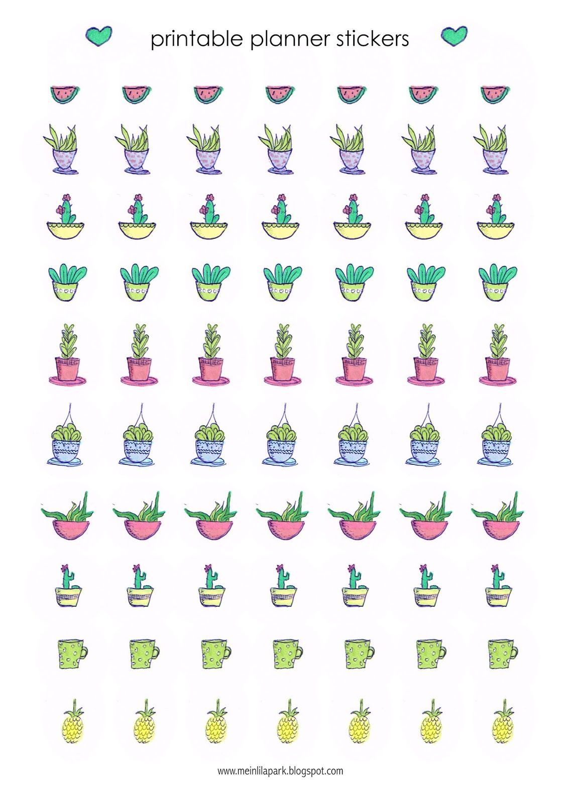 Free Printable Cactus Planner Stickers