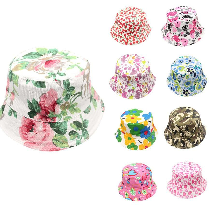 82b4ff326de 2018 Cute Toddler Baby Kids Boys Girls Floral Pattern Bucket Hats Sun  Helmet Cap For 2