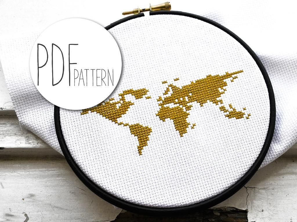 Modern Design World Map. WORLD MAP  easy cross stitch kit for beginners wanderlust complete craft with supplies wooden embroidery hoop pattern tutorial Looking your next project You re going to love Modern
