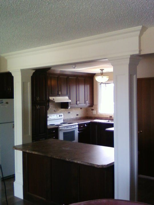 White Columns With Dark Cabinets...this Doesn't Look Right