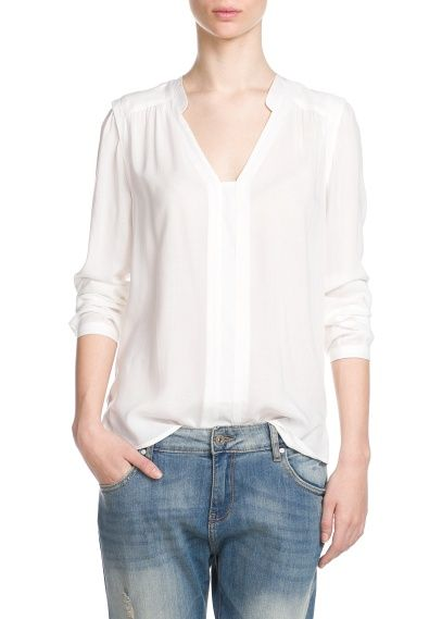 f3273290 Flowy shirt. love/ White Long Sleeve, White Shirts, White Blouses, Short