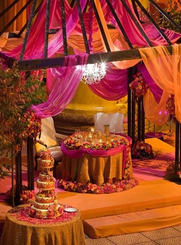 Moroccan themed wedding sweetheart table decorations for Arabian party decoration ideas